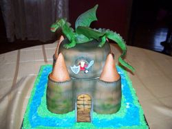 Dragon atop Castle Cake
