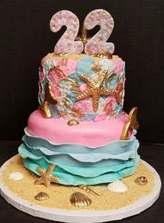 Mermaid Cake with Gold Shells