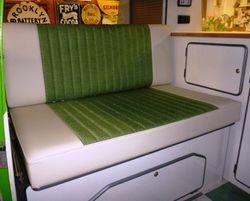 green tweed like fabric with cream vinyl