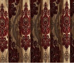 Red Wine Jacquard Blackout Curtain Panels-96L