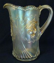 Wreathed Cherry pitcher, white, traces of gold, Dugan/Diamond