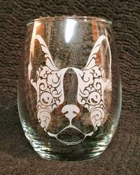 Frenchie ~ Boston Terrier ~ Stemless wine glass