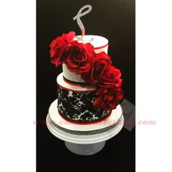 Red, Black, and White Damask Cake