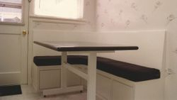White painted trestle table w/Corian top