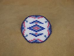 Applique Beaded Barrette with Geometric Traditional Design