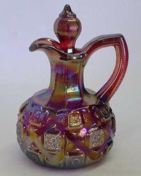 Checkerboard cruet, red, by L.G.Wright