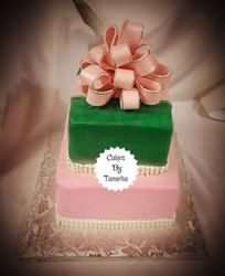 Pink and Green  Cake with Bow