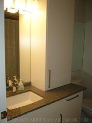 White Laquer Flat Slab Bathroom Vanity