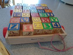 Uncle Goose Classic ABC Blocks with Melissa & Doug Pull Wagon - $20