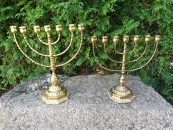 Antikvarines bronzines menoros. 2 vnt. Kaina 68