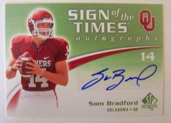 2010 SP Authentic Rookie Sam Bradford Auto ST-SB Sign Of The Times
