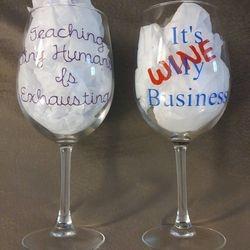 Teacher & Wine Business Glasses