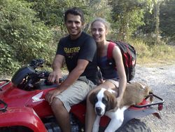 Owners Emilia and Arturo with their dog, Bobo