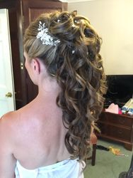 Long Hair curled and pinned up