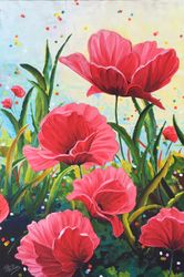Buzzy Field Day Poppies.  36 x 24