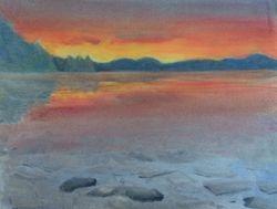 Sunset at Phillipe Lake - $175