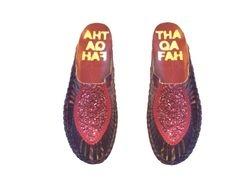 Thaqafah glitter tux mules