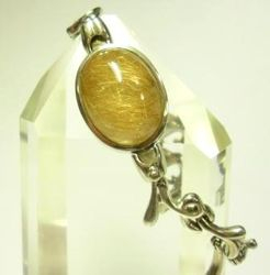 09-00131b Gold Rutilated Quartz Cabochon Sterling Link Bracelet