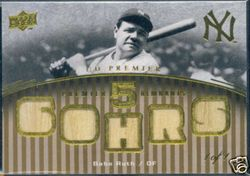 Babe Ruth 1/1 2008 Upper Deck Premier 5 Piece Game Used Bat Card