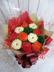 Red, orange and white cupcake bouquet