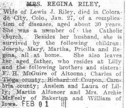 Riley, Regina McGuire 1908