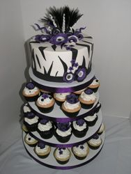 Zebra/Purple Cupcake Tower