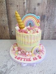 Rainbow unicorn drip cake