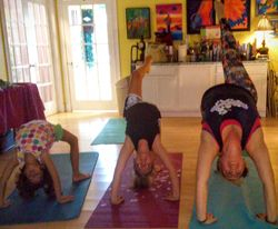 Ms. Eden & her Yogis in Upward Bow