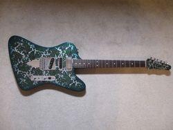 "Modified Crook ""Telebird"" Tele/Firebird Hybrid. Green/Silver Paisley."