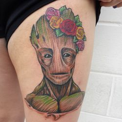 "Casey's AWESOME Groot tattoo from ""Guardians of the Galaxy"" This was a super fun project!!!!"