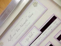 Ribbon and Pearl Diamante Lilac Table Plan Framed - Close Up
