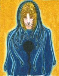 Cloak of Despair, Oil Pastel, 11x14, Original Sold