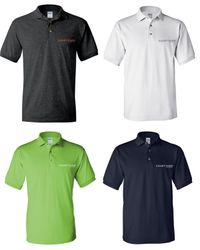 Polo Shirts. Dark Heather, White, Lime Green and Navy Blue. + Other Colors May Be Available - Silk-Screen Logo - DryBlend Fabric 50/50 - 3-Button Placket - Knitted Collar/Cuffs