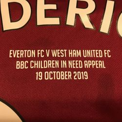 Ryan Fredericks BBC Children in need appeal shirt.
