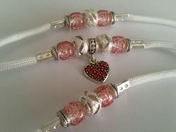 White with red heart dangle