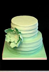Mint ombre cake with gumpaste fantasy flower