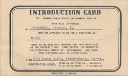 George Kenawell Cook Introduction Card