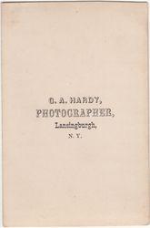G. A. Hardy, photographer of Lansingburgh, NY - back