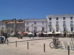 Looking across the main plaza in Tavira.