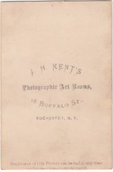J. H. Kent, photographer of Rochester, NY - back