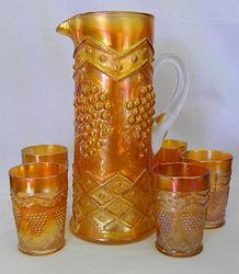 Lattice and Grape 6pc. water set, marigold