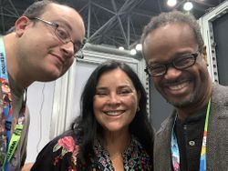 Alec Frazier, Diana Gabaldon, and Jd Michaels During Interview for Autistic Reality Podcast
