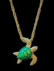 Enamel and 14k yellow gold turtle pendant