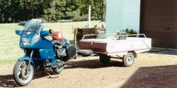 Tom's K75RT & Camper Trailer about to depart Mum's place - Jan 1995
