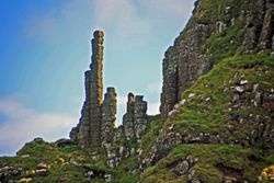 Chimney stacks at Giant's Causeway in Northern Ireland