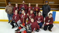 Carberry Captains at HighSchool Mixed Broomball Provincials.