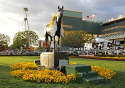 Seabiscuit Statue and Yellow Flowers
