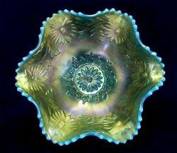 Daisy Wreath, BLUE opal ruffled bowl, Westmoreland, USA