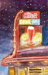Habit Burger Sign (Night), Visalia