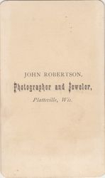 John Robertson,  photographer of Platteville, WI No. 1 - back